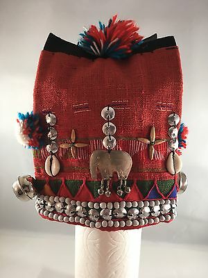 Vtg Authentic Akha Small Child's Hilltribe Hat-Metal Elephant-Southeast Asia