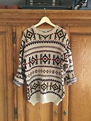 Vintage Aztec Oversized Urban Outfitters Renewal Thick Jumper Size Large