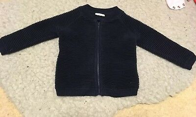 Boys Next Navy Ribbed Cardigan 6-9 Months