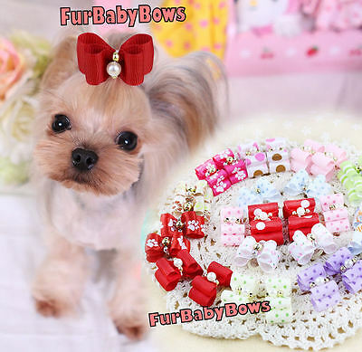 50 Dif Pet Yorkie Puppy Dog grooming bows with clip & barrettes Maltese Shihtzu