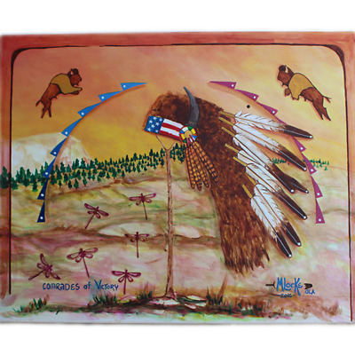 """Lakota Crafters """"Comrades of Victory"""" Painting by Merle Locke"""