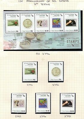 """NZ, SG2791/95+MS2796, 2005 """"NZ Stamps - 3rd Issue"""" 5 Stamps+Mini Sheet, NH Mint."""