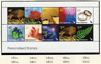 """N Z, SG 2801a, 2005 """"Personalised Stamps"""" Sheetlet of 10 Stamps, Never H Mint."""