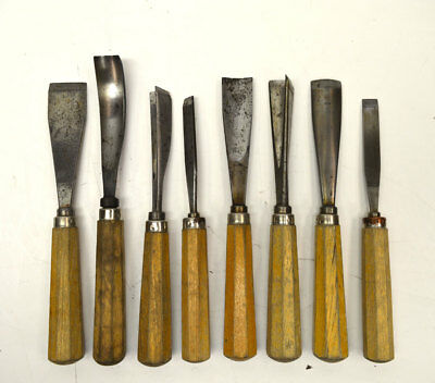 (Lot of 8) Spade Pick Chisel Ice Carving Sculpture Tools w/ Wooden Handles