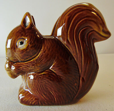 Small Country Brown Squirrel Napkin Holder Handpainted Pottery Piece