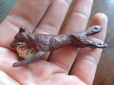 Vintage Cold Painted Lead Figure Fox Running With Chicken - Unusual England VGC