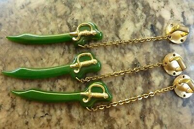3 Green Bakelite Pieces Swords With Chain For Jewerly Making