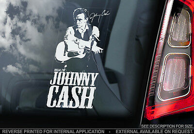 Johnny Cash - Car Window Sticker - Country Rock & Roll Music Decal Rockabilly V1