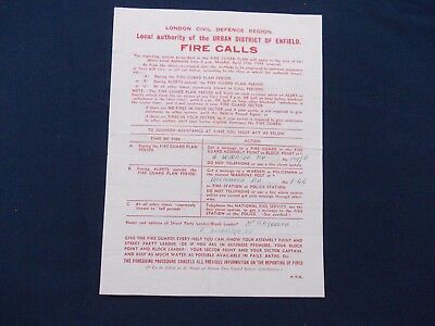 WW2 Home Front (1939-1945) London Civil Defence Fire Calls