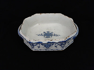 GRANDE JARDINIÈRE FAIENCE XVIIIe ROUEN DELFT NEVERS ANTIQUE FRENCH CERAMIC 18th