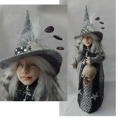 Halloween Witch OOAK Art Doll Tree Topper / Decoration Handmade NEW Gray Black