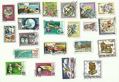 Mongolia postage stamps, used, off paper x 21