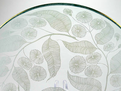 Vintage glass bowl - Harris, Chance Brothers 'Calypto' pattern - Curving leaf