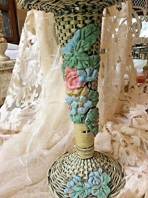 Wonderful Antique Barbola Gesso Roses Painted Wicker Flower Vase Basket 1919