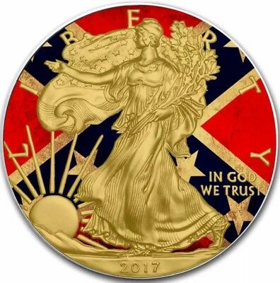 2017 1 Oz Silver $1 CONFEDERATE FLAG EAGLE Coin,24K Gold.