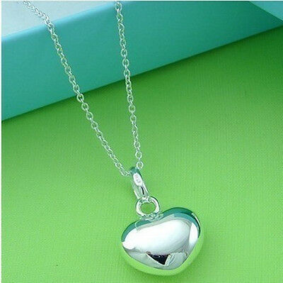 Heart Pendant solid 925 Sterling Silver jewellery Chain Necklace lover Gift