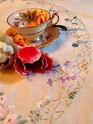 """Vintage Linen Tablecloth Hand Embroidered Thick Raised Pastel Flowers 40"""" Sq."""