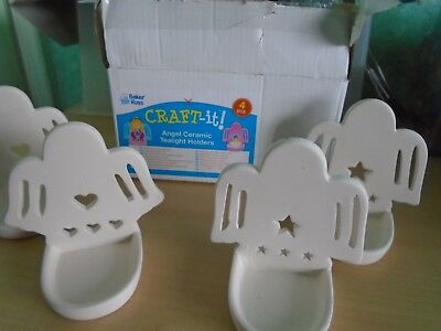 Angel Ceramic Tealight Holders Paint Your Own Box of 4 - Craft-it!
