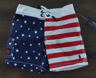 NWT Ralph Lauren Toddler Boy's USA Flag Pony Swim Trunks 2/2t 3/3t 4/4t NEW $55