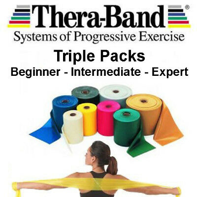 3 Theraband Thera-band Resistance Bands DISCOUNTED Set Pack NHS Yoga Pilates