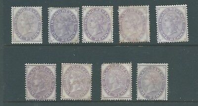 Queen Victoria Fiscal Revenues Stamps One Penny Inland Revenue x 9 Mint and Used