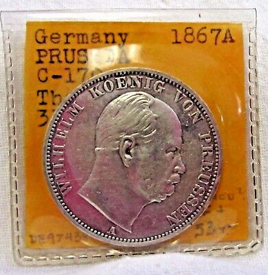 1867A Germany Prussia Silver  3 Thaler Km #494