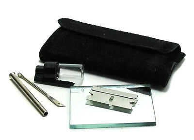 Snorter Sniffer Snuff Tube Powder Dispenser Suede Kit Pouch With Mirror