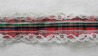 Vintage 1970's Synthetic Red Tartan Ribbon with Lace Edges 3.25cm Wide 7.5m long