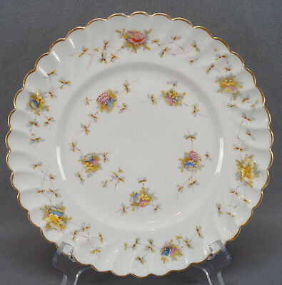 Rare Set of 3 Carl Knoll 2843 Pattern Hand Colored Floral Dinner Plates C. 1848