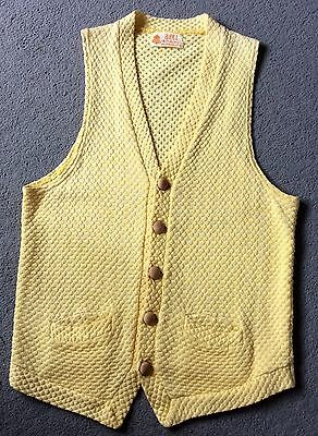 1970s Buttermilk Yellow Waffle Weave Knitted Waistcoat XS