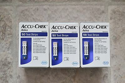 Brand new sealed 3 three boxes Accu-Check Aviva test strips total 150 free p&p