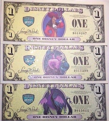 Collection of 3 Different 2013 Villains and Heroes Disney Dollars