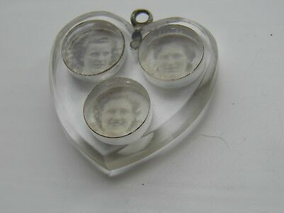 Vintage Early Plastic Triple photo Locket heart Pendant