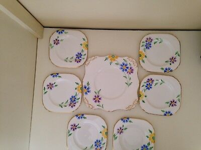 Tuscan bone china cake plate set - hand painted