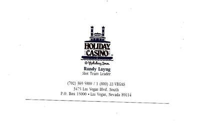 Holiday Casino Business Card   Las Vegas, Nevada   Open from 1995-1997