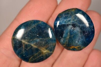 2 BLUE APATITE PALM STONES 15g Healing Crystals Flat Worry, Inspirational Stone