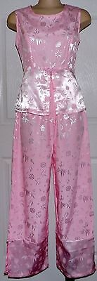 Oriental Silk Outfit Women's Asian Pink Pant Set Sleeveless Top Size M NWOT