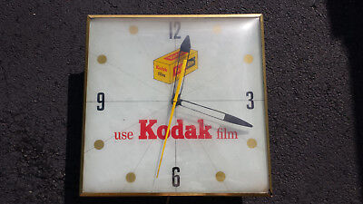 Vintage Pam Kodak Film Lighted Advertising Wall Clock