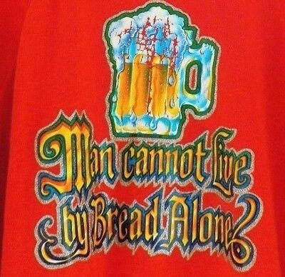 Vtg 70s Red Man Cannot Live By Bread Alone BEER Funny 50/50 Thin Sweatshirt S M