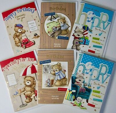 CUTE MALE BIRTHDAY CARDS, 6 DESIGNS X6, JUST 27p, FOILED, WRAPPED, SUPERB! (B218