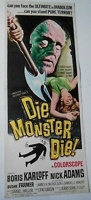 Die Monster Die insert horror movie poster Boris Karloff HP Lovecraft monsters
