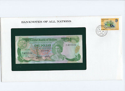 BELIZE 1983 DOLLAR QEII PICK 46a BANKNOTES OF ALL NATIONS note is lightly wavy