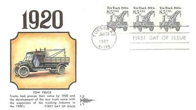 2129 8.5c Tow Truck, Gil-Craft Cachet, Strip of 3, PNC #1 [E278967]