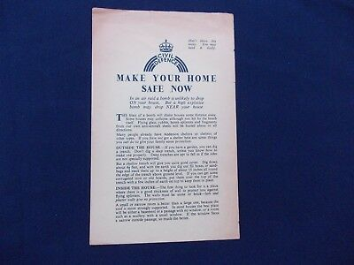 WW2 Home Front (1939-1945) Leaflet Make Your Home Safe Now