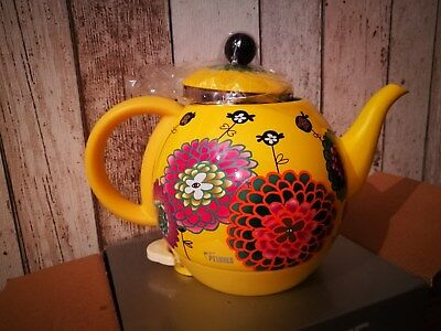 Pylones Byzance Kettle - yellow with floral design - Brand New in Box!