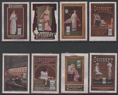 "Russell-Miller Milling Co. ""Occident Flour"" - 8 circa 1910  Poster Stamps NG"