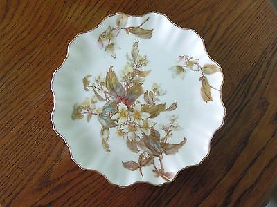 ANTIQUE ROYAL DOULTON BURSLEM PLATE TUBE LINED GOLD/FLORAL No. 72067 FLUTED VGC