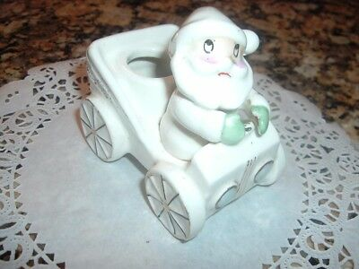 Vintage Christmas 1959 Holt Howard Taper Candle Holder-Santa In Car-Ceramic