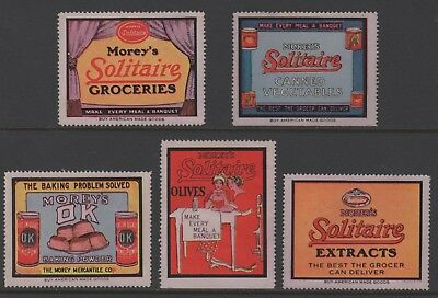 Morey's Soltaire  - Five (5) 1910s Advertising Poster Stamps - No Gum