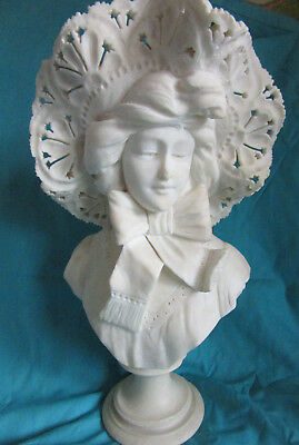 Antique VICTORIAN carved girl lady hat head statue sculpture alabaster? signed